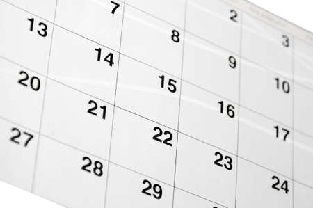 White calendar printed on the paper