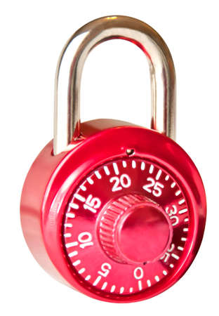 combination: Red closed isolated combination padlock