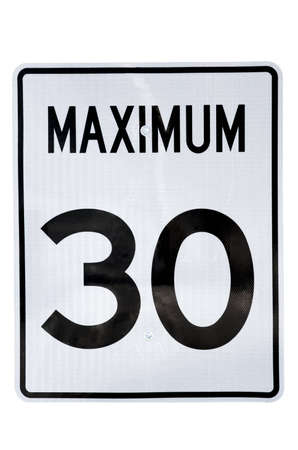 Road sign of the speed limit, isolated