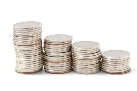 Coin rouleau on white background