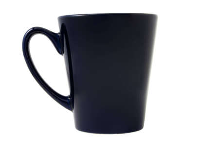 Dark-blue tea cup isolated on the white background Stock Photo