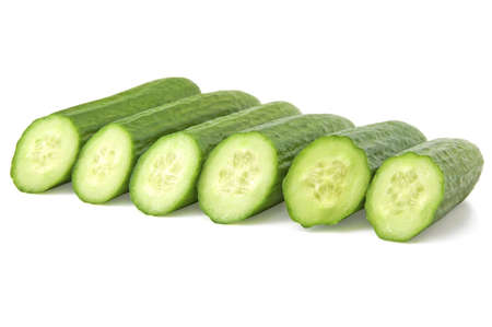 Cut cucumbers isolated on the white background  Stock Photo