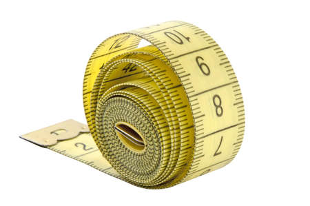 tape line: Twisted yellow tape measure isolated Stock Photo