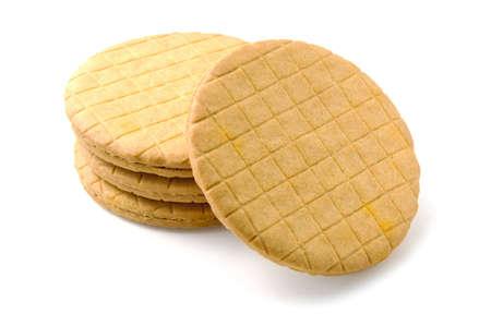 Golden honey cookies on white background