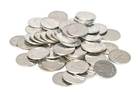 white fund: Pile of coins on white background