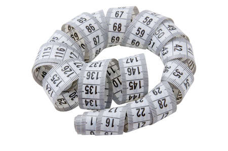 Twisted gray tape measure isolated