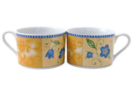 Two tea cups isolated on the white background Stock Photo