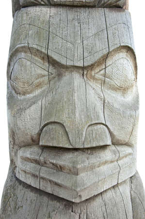 indian idol made of wood isolated