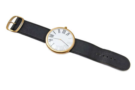 Old watch with leather wristlet isolated Stock Photo