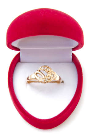 wedding ring in a red case, isolated