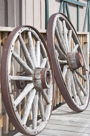 the two old wooden wheels