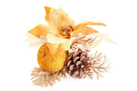 Christmas decoration with apple, pinecone and poinsettia Stock Photo