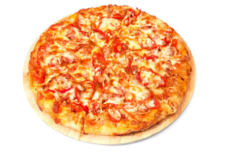 isolated homemade pizza on the Stock Photo