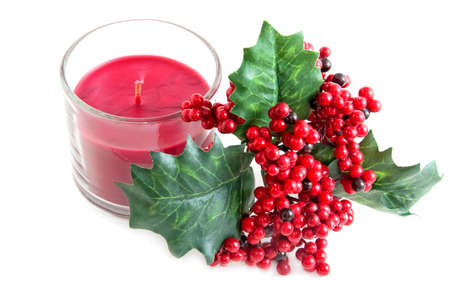 aroma candle and a twig of mistletoe Stock Photo