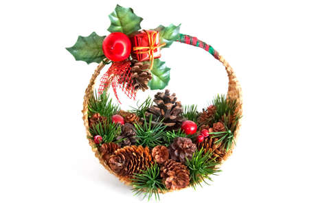 Christmas decoration made of basket with pine twigs Stock Photo - 16388141