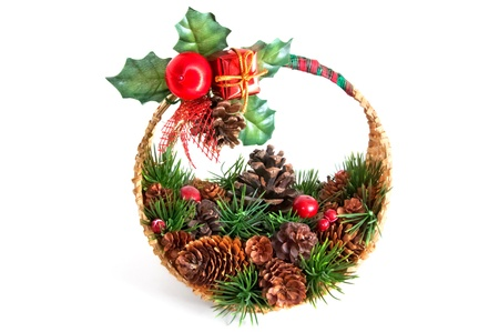 Christmas decoration made of basket with pine twigs Stock Photo