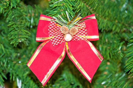 the bow on a Christmas tree