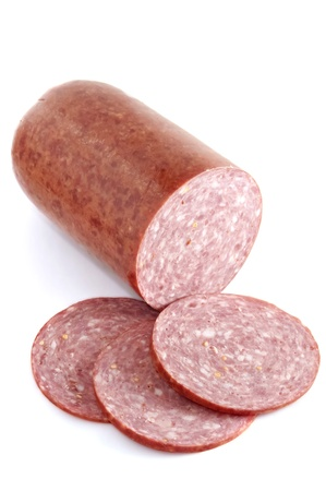 the salami sausage cut isolated