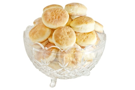 home made biscuits in cut glass isolated