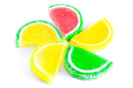 the fruit jelly candies isolated Stock Photo
