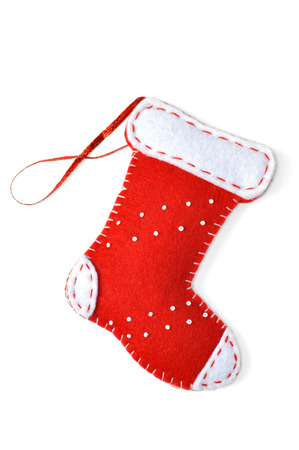 A red stocking, Christmas ornament, isolated