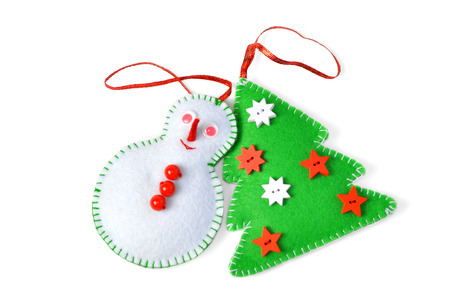 A group of Christmas ornaments, isolated