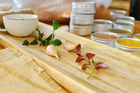 Herbs and seasonings with garlic Stock Photo