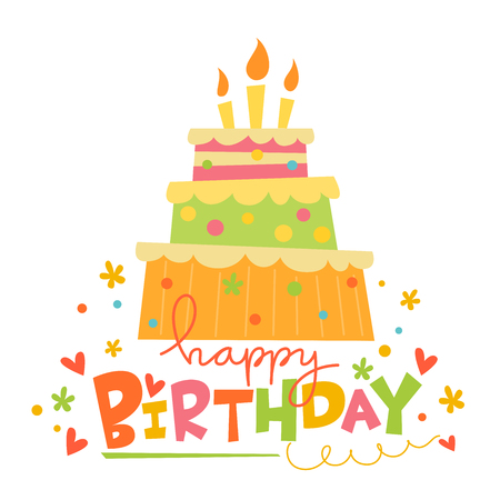 Vector Happy Birthday card with cute cake. Card with sweets.