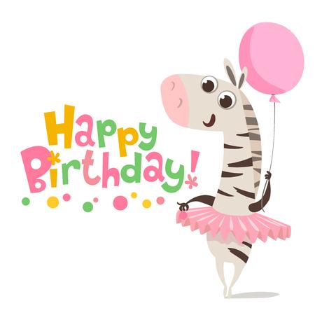 Happy Birthday Vector Card Baby Birthday Card With Cute Zebra