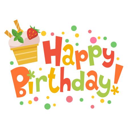 Happy birthday vector card with cute ice cream