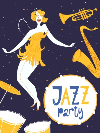 Vector dance jazz party poster. With cute dancing girl and musical instruments. Charleston dance party.