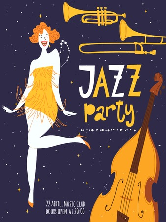 Vector dance jazz party poster. With beautiful dancing girl and musical instruments. Charleston dance party.