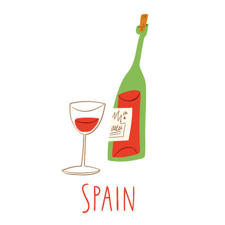 Vector symbols of Spain. Bottle of red wine with a glass.