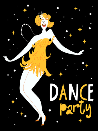 Vector dance poster with a girl dancing charleston. Vintage style poster. Vettoriali