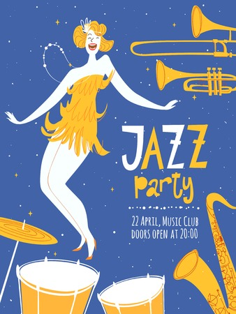 Vector dance jazz party poster. With cute dancing girl and jazz musical instruments.