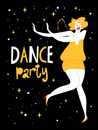 Vector dance poster with a girl dancing charleston. Vintage style poster. Illustration