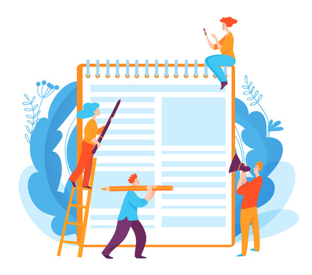 Vector concept illustration with writing idea and people doing job