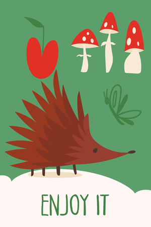 Vector card with cute forest animals hedgehog Illustration