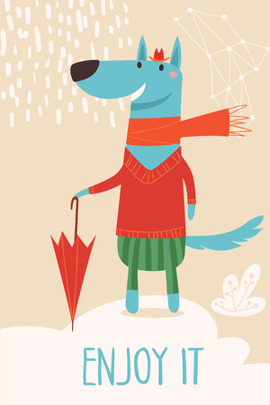 Vector card with cartoon forest animals wolf