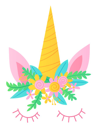 Cute vector unicorn character mask. Unicorn with flowers.