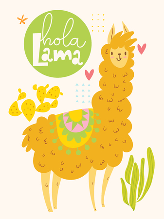 Cute vector poster design with cartoon lama and cacti and hola lama lettering