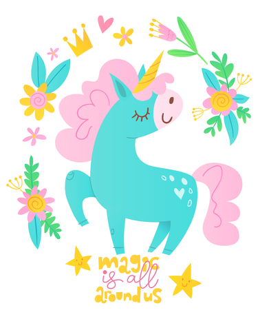 Cute vector happy birthday card with cartoon magic unicorn character and motivational text. Dream like a unicorn.  イラスト・ベクター素材