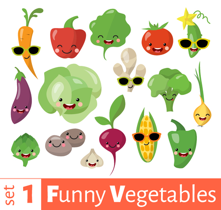 Vector conjunto de iconos de comida de verduras emoji divertido lindo.