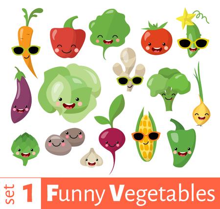 Vector set of cute funny emoji vegetables food icons.