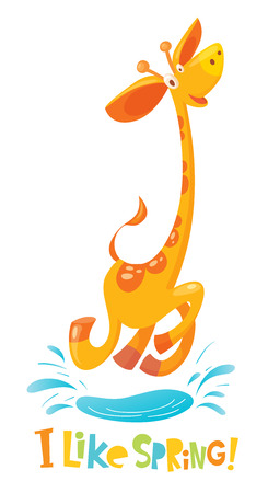 I like spring vector illustration with funny giraffe
