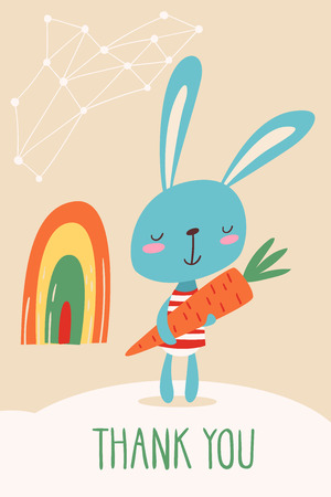 Thank you vector card with a rabbit holding a carrot Illustration
