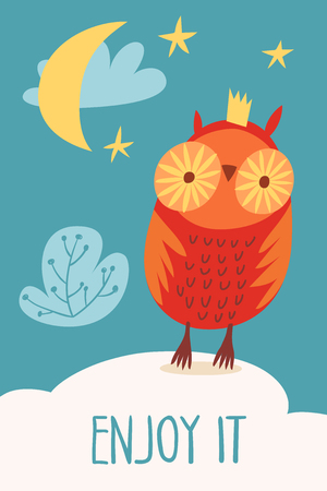 Vector card with forest animals cartoon owl Illustration