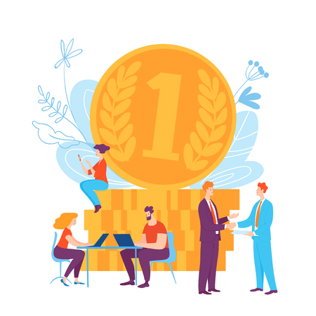 Vector illustration with cartoon business people making money Stock Illustratie
