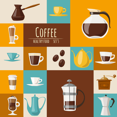 Vector flat coffee icons set. Food and drink elements. Coffee poster.