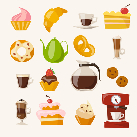 Vector coffee icons set with food and drink elements.